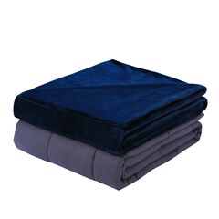 Plush 15lb Weighted Blanket with Washable Cover , NAVY