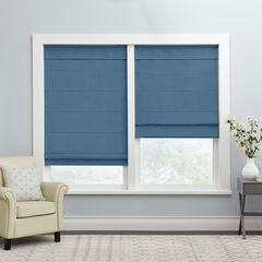 Cordless Large Fold Woven Blackout Roman Shade, BLUE