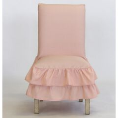 2-Tier Ruffled Dining Chair Slipcover , PINK