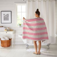 "BH Studio Striped 35"" x 70"" Bath Sheet, CRIMSON ALMOND"