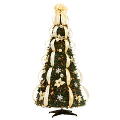 Fully Decorated Pre-Lit 6-Ft. Pop-Up Christmas Tree, SILVER GOLD