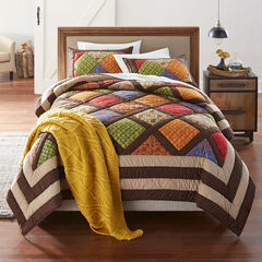 Ginger Patchwork Quilt, BROWN GOLD