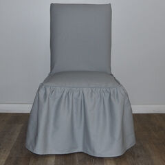 Ruffled Dining Chair Slipcover, GRAY