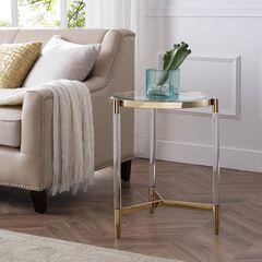 Covel Acrylic End Table, GOLD