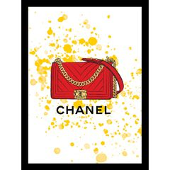"Chanel Purse Red/Yellow 14"" x 18"" Framed Print, BROWN"