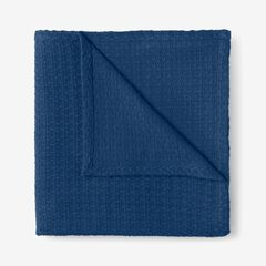 BH Studio Primrose Cotton Throw, MARINE BLUE