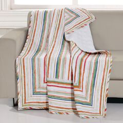 Greenland Home Fashions Sunset Stripe Quilted Throw Blanket, MULTI