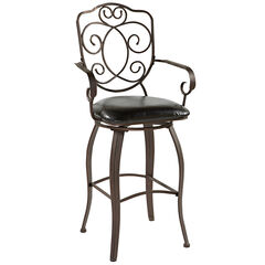 "Crested Back Bar Stool, 30""H, POWDER"