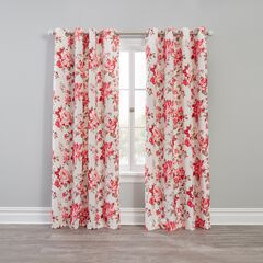 Floral Check Blackout Grommet Panel, ROSE TAN