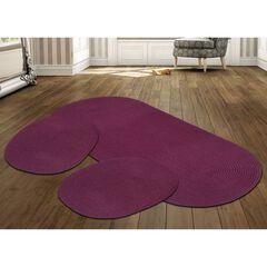 Country Braid Collection 3 Piece Set Durable & Stain Resistant Reversible Indoor Oval Area Rug , BURGUNDY