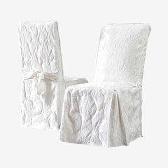 Matelasse Long Dining Room Chair Cover, WHITE