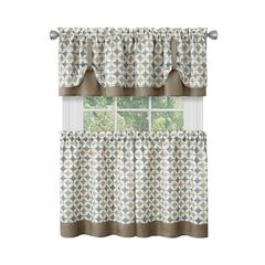 Callie Window Curtain Tier Pair and Valance Set - 58x24, TAUPE SILVER