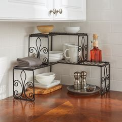Scroll 2-Tier Corner Shelf, BLACK