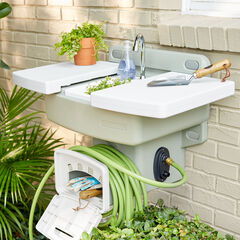 Outdoor Garden Sink with Hose Holder, WHITE