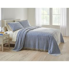 Wave Chenille Bedspread, BLUE