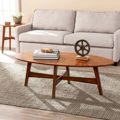 Rhoda Oval Midcentury Modern Coffee Table, SIENNA
