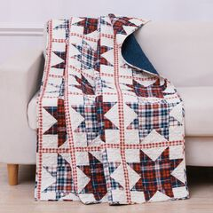 Greenland Home Liberty Quilted Throw Blanket, RED CREAM BLUE