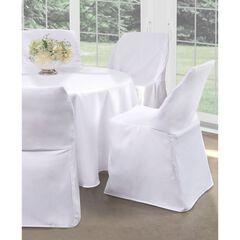 """Fresh Ideas Folding Chair Cover 32"""" x 18"""", WHITE"""