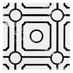 Retro 12x12 Self Adhesive Vinyl Floor Tile - Carrera - 20 Tiles/20 sq. ft., BLACK WHITE