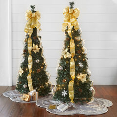 Fully Decorated Pre-Lit 4½' Pop-Up Christmas Tree, SILVER GOLD