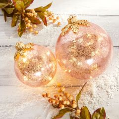 "6"" Pre-Lit Crackle Glass Ornament, PINK"