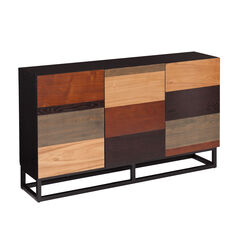 Mixed Tonal Wooden Console Table, MULTI