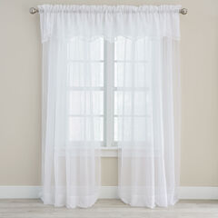 BH Studio Sheer Voile Layered Valance, WHITE