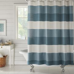 BH Studio Colorblock Waffle Shower Curtain, PEACOCK