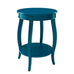 Round Table with Shelf, TEAL