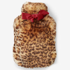 Faux Fur Plush Hot Water Bottle & Holder, CHEETAH