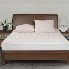 All-In-One Copper Effects Antimicrobial Fitted Mattress Pad, Twin, WHITE