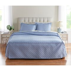 Pinsonic Fitted Bedspread, SLATE BLUE