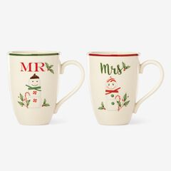 Lenox® Hosting The Holidays Set Of 2 Mr. & Mrs. Mug Set, WHITE