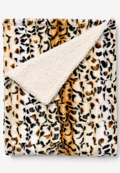 Faux Fur Animal Print Blanket, OCELOT PRINT