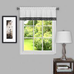 "Camden 58"" x 14"" Window Curtain Valance, BLACK WHITE"