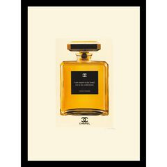 "Chanel Perfume Bottle Quote 14"" x 18"" Gold Framed Print, GOLD"