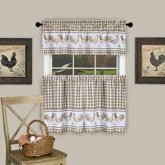 Barnyard Window Curtain Tier Pair and Valance Set, TAUPE