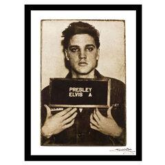 Elvis Presley Mugshot - White / Black - 14x18 Framed Print, WHITE BLACK