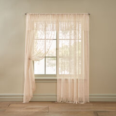 Josephine Fringed Floral Lace Valance, CHAMPAGNE