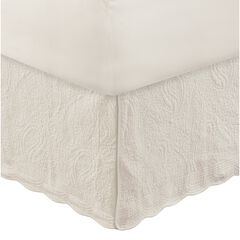 "Paisley Quilted Bed Skirt 18"", IVORY"