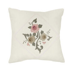 "Ava Embroidered Cotton 16"" Square Pillow, IVORY"