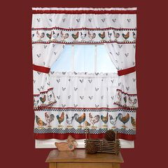 Top of the Morning Cottage Window Curtain Set, BLACK WHITE