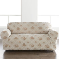 Floral Stretch Loveseat Slipcover, MOONSTONE