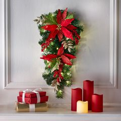 "24"" Pre-Lit Poinsettia Swag, RED"