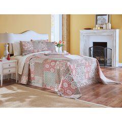 Velvet Printed Patchwork Bedspread, MULTI