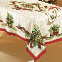 "Christmas Ribbons Tablecloth, 60""x120"" Oblong, CHRISTMAS RIBBON"