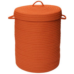 Solid Texture Hamper with Lid, ORANGE