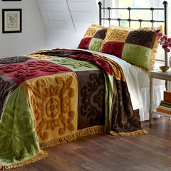 Chenille Patchwork Bedspread, GOLD MULTI
