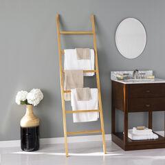 Bedwell Freestanding Wooden Ladder Rack, NATURAL