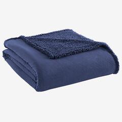 Micro Flannel® Reverse to Sherpa Blanket, SMOKEY MOUNTAIN BLUE
